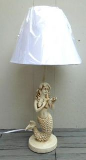 Mermaid Table Lamp Nautical Faux Ivory Beach Decor Cottage Chic