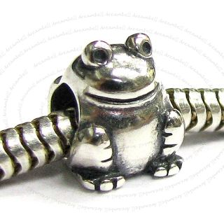 Sterl Silver Frog Toad Bead F European Charm Bracelet