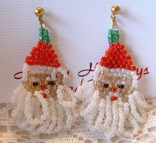 Beaded Christmas Santa Clause Dangle Pierced Earrings