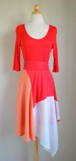 Beautiful Love Point Coral Colorblock Dress Anthropologie Earrings M