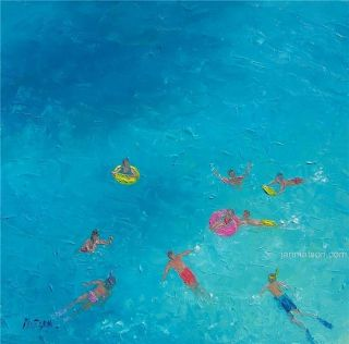 Beach Painting with People Swimming Art Original Oil by Matson