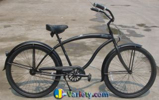 Beach Cruiser Bicycle Micargi Stealth 26 Mens with Fenders Matte Black