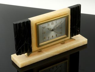 PUREST ART DECO   MACHINE AGE BAYARD DESK TABLE ALARM CLOCK FINEST
