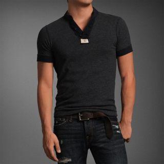 Abercrombie Men Beaver Meadows Short Sleeve Henley Tee T Shirt Top $50
