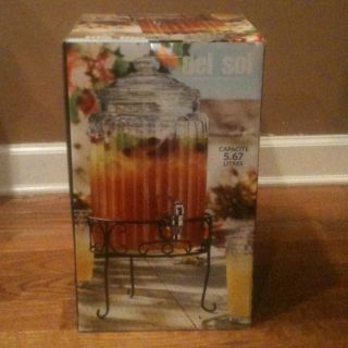 Del Sol Glass Beverage Dispenser with Iron Stand Capacity 1 5 Gallons