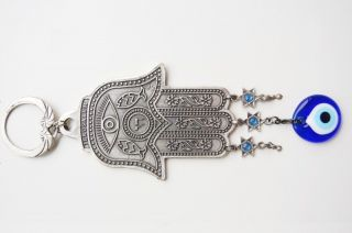 Hand Wall Hanging Amulet Handmade Turkish Silver Plated Evil Eye Bead