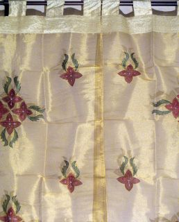 Gold Indian Sheer Curtains 2 Tab Top Decorative Exotic Window