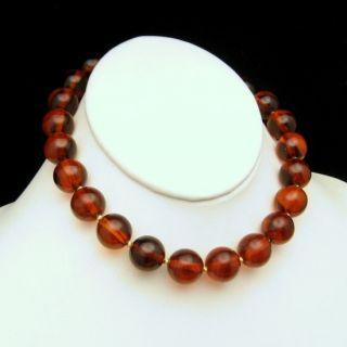 Vintage Chunky Cherry Amber Bakelite Beads Choker Necklace Statement