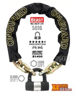 ON GUARD 5016 BEAST CHAIN MOTORCYCLE BICYCLE LOCK