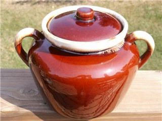 McCoy Brown Drip Stoneware Bean Pot with Lid Vintage 2 Handled 2 Qt