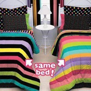 Zany Stripes Twin Bedding Set Girls Bed in A Bag