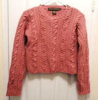 INIS CRAFTS Made in Ireland 100% Merino WOOL Cable Knit Sweater PINK
