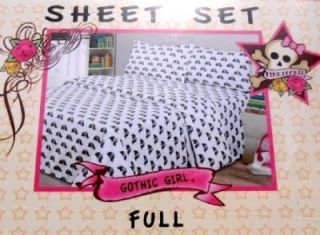 4pc Pink Cookie Gothic Girl Skull Crossbone Roses Full Size Bed Sheet