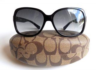 Coach Women Black Gray Gradient Signature Op Art Logo Sunglasses Case