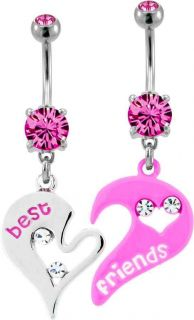 Abstract Hearts Best Friends BFF 2 Piece Navel Bar Belly Ring Piercing