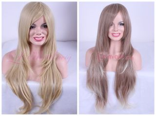 70cm Long Mix Blonde Brown Curly Layer Fashion Wig C34B