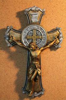 St Benedict Jesus Christ Crucifix Gold Silver Catholic Wall Cross