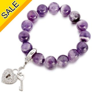 Jewelry Purple Amethyst Natural Stone Charm Beaded Bracelet Set