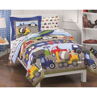 Twin Bed in a Bag Trucks & Tractors 5 Pcs Sheet Set Childerns Bedding