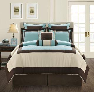 Aqua Beige Brown Bed in A Bag Comforter Set Queen Size Bedding