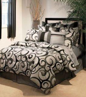 C3 Bedding Set Comforter Bed in A Bag Black Charcoal Gray Grey