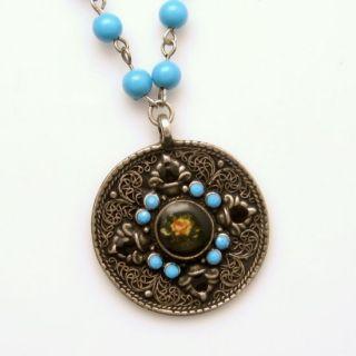 Vintage Large Round Celtic Pendant Aqua Black Beads Long Necklace