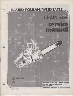 1984 Beaird Poulan Weedeater Chain Saw Service Manuals