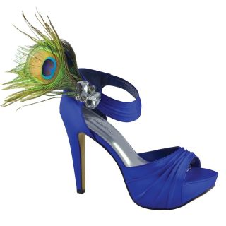 Benjamin Walk PEACOCK 951 Womens Shoes Silk Satin Heels Royal Blue