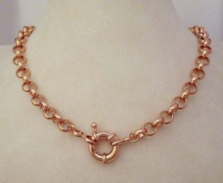 Hot New Lady GF 14k 9ct Rose Gold Belcher Bolt Solid Necklace Bracelet