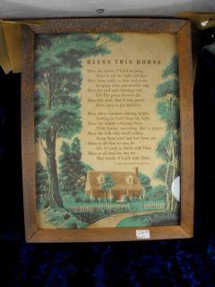 the wait vintage bless this house poem framed under glass