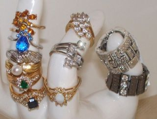 Womens Vintage Designer Ring Lot Sterling Rhinestones Cocktail