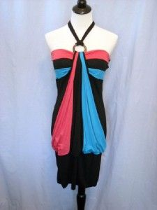 Plus Size Red Blue Black Halter Dress Tunic Top Womens Clothing