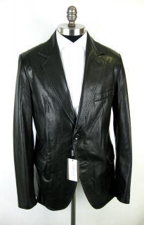 New Di Bello Dibello Italy Black Italian Leather Coat Jacket 52 42 L $