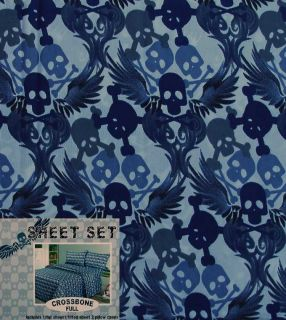 Winged Crossbone Skull Full Sheets 4pc Bedding Set New