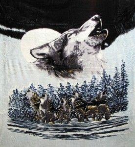 howling wolf plush blanket throw full queen bedding