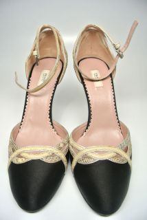 Prada Satin and Snakeskin Mary Janes with Rhinestone Heel Size 5