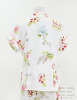 Bedhead Pajamas 2pc White Pink Floral Print Top Pants Set Size Medium