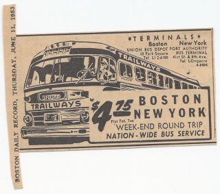 rare VTG 1950s BUS Trailways (Boston MA NEW YORK) newspaper AD