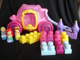 Princesses Castle MEGA BLOKS CARRIAGE Blocks Cinderella Ariel Belle
