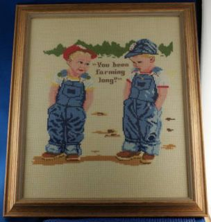 Vintage You BEEN Farming Long Needle Point Picture
