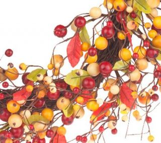 20 Fall Autumn Wreath Wild Berry on Grapevine Base by Valerie Parr