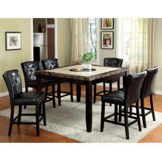 Belleview Counter Height Espresso Finish Faux Marble Table Top Dining