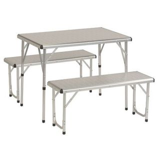 Outdoor Portable Camping 4 Person Picnic Table Set w Benches