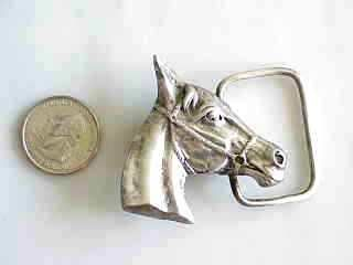 SOLID STERLING SILVER BELL BUCKLE WESTERN HORSE COWBOY HEAVY 42 GRAMS