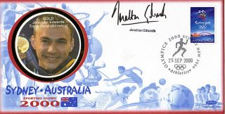 2000 Olympic Games Signed Benham Commemorative Cover Jonathan Edwards