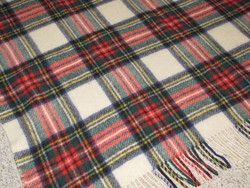 Vintage Wool Connemara Rug Plaid Irish Blanket