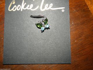 Cookie Lee Butterfly Crystal stretch ring NWT 2012 Green Blue Silver