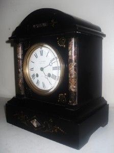 ANTIQUE J.W.BENSON SLATE & MARBLE MANTEL CLOCK GARNITURE SET
