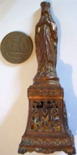 old antique bronze statue of holy mary jesus catholic one