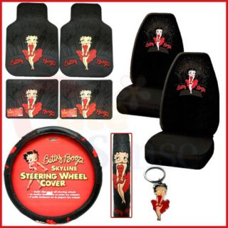 Betty Boop 8PC Car Seat Covers Accessories Set Skyline